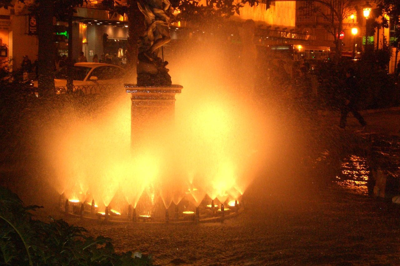 night, burning, outdoors, flame, illuminated, heat - temperature, building exterior, architecture, no people
