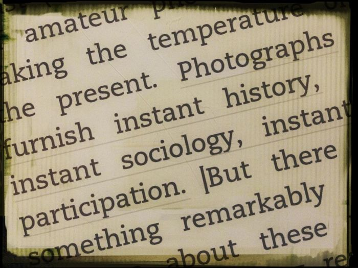 reading 'On Photography' by Susan Sontag