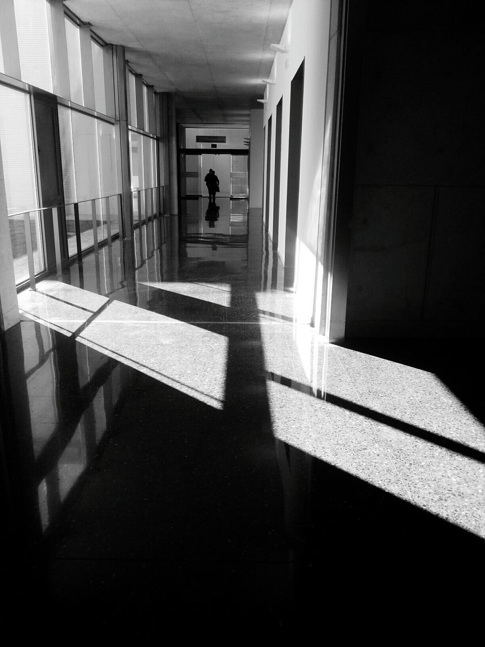 one person, shadow, walking, real people, indoors, full length, sunlight, architecture, men, built structure, corridor, day, one man only, people