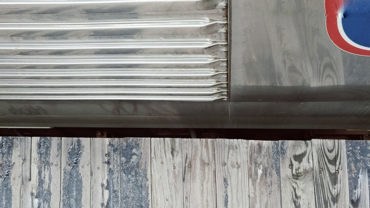day, no people, transportation, outdoors, close-up, architecture, corrugated iron
