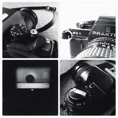 Praktica BC1 SLR Camera Analogue Photography Film Photography Black And White Monochrome Schwarzweiß Close-up IPhoneography Split Image F5.6 Buy Film Not Megapixels Filmisnotdead