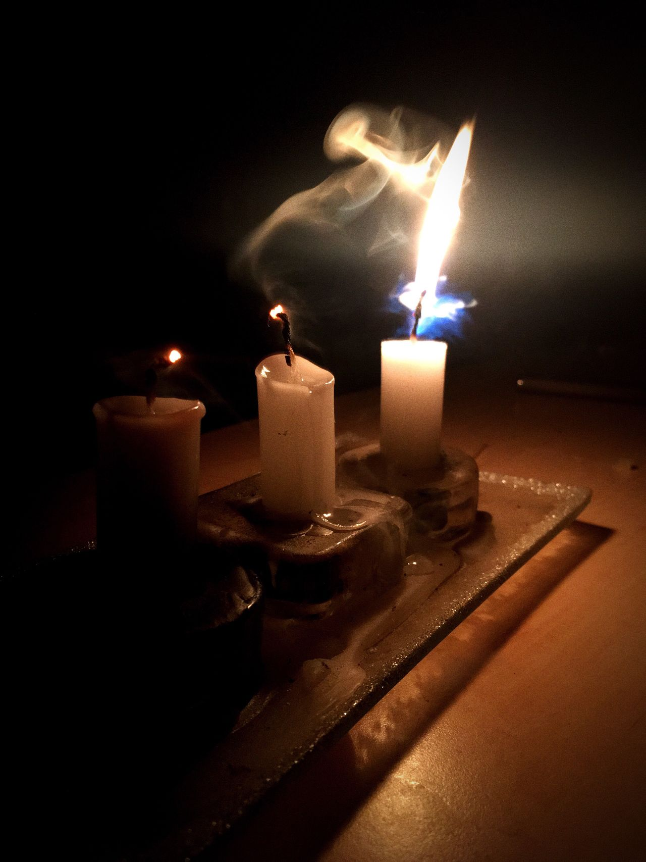 Flame Candle Burning Candlelight Heat - Temperature Close-up Indoors  Wax No People Illuminated Darkroom Black Background Tea Light Night