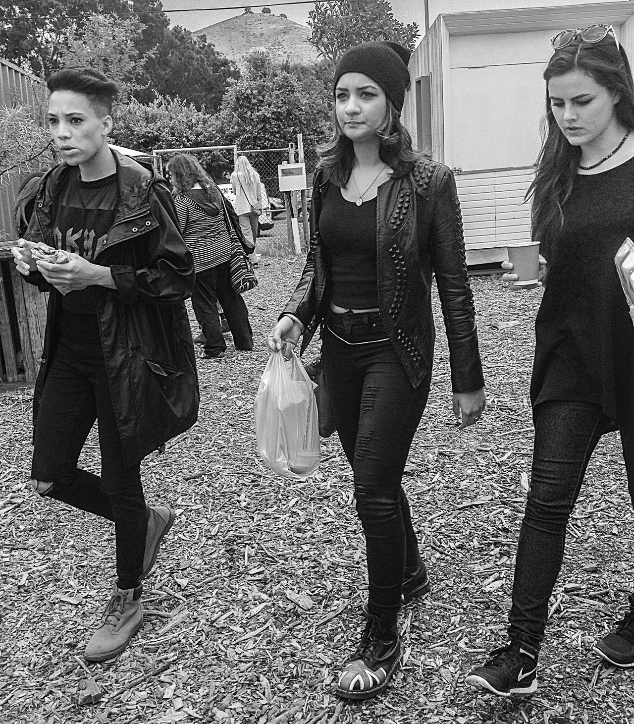 Blackandwhite Candid Casual Clothing Friendship Front View Outdoors Streetfashion Streetphotography Three Girls