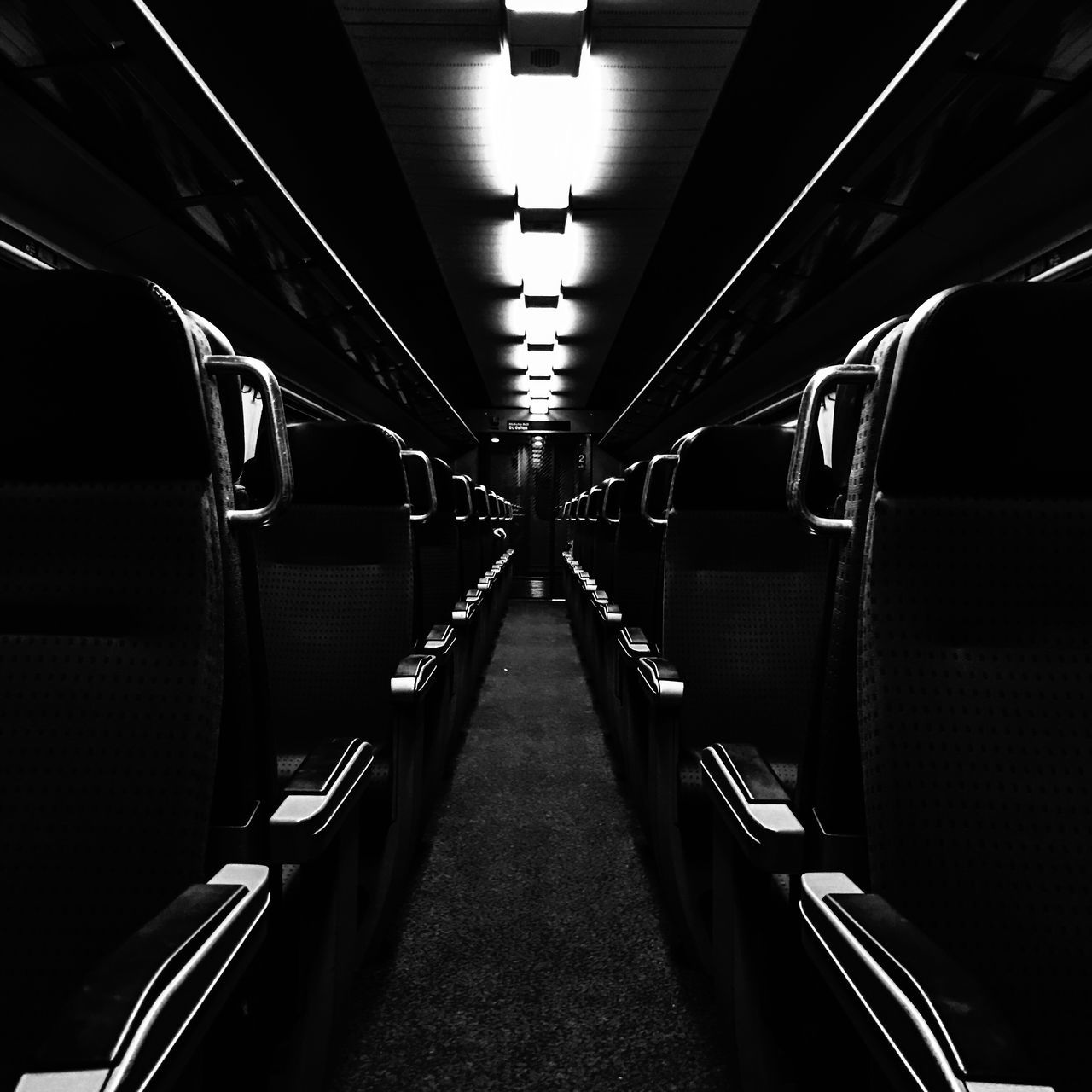 Black and white Vehicle Interior Illuminated Transportation Lighting Equipment Mode Of Transport Public Transportation Indoors  No People Day