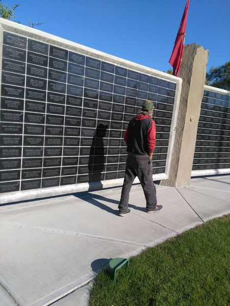 Wall of Honor Politics And Government Only Men Adults Only Outdoors One Person People Adult Day Men One Man Only Casual Day Liv'n The Dream Real People Built Structure Sky Blue Sky Flag Monument Monuments Veteran Veterans Veterans Memorial Veterans To Remember Memorial Memorials Connected By Travel Lost In The Landscape