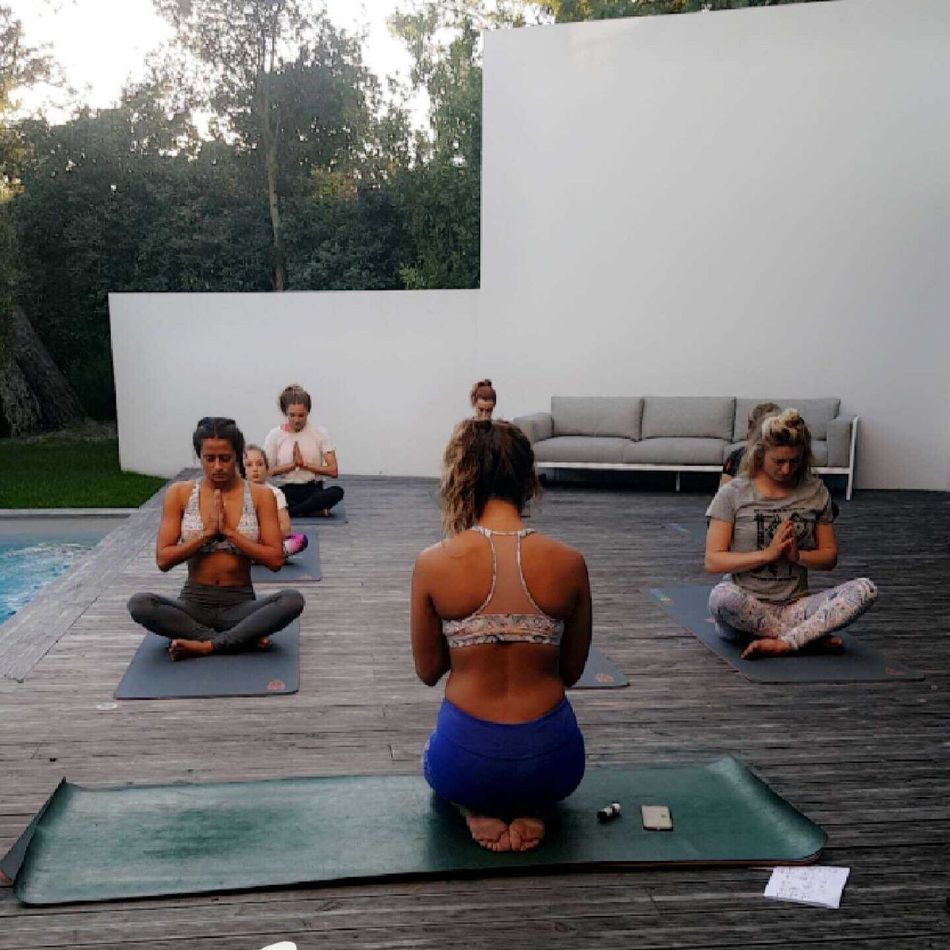 Sitting Casual Clothing Childhood Leisure Activity Full Length Togetherness Relaxation Day Person Looking Friends Yoga Pool