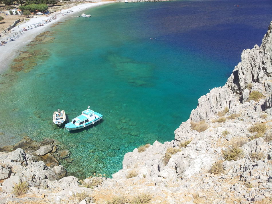 Symi ısland Symi Greece Nanou Beach Beach Fishing Boats Blue Sea Hiking Mountain Colorful
