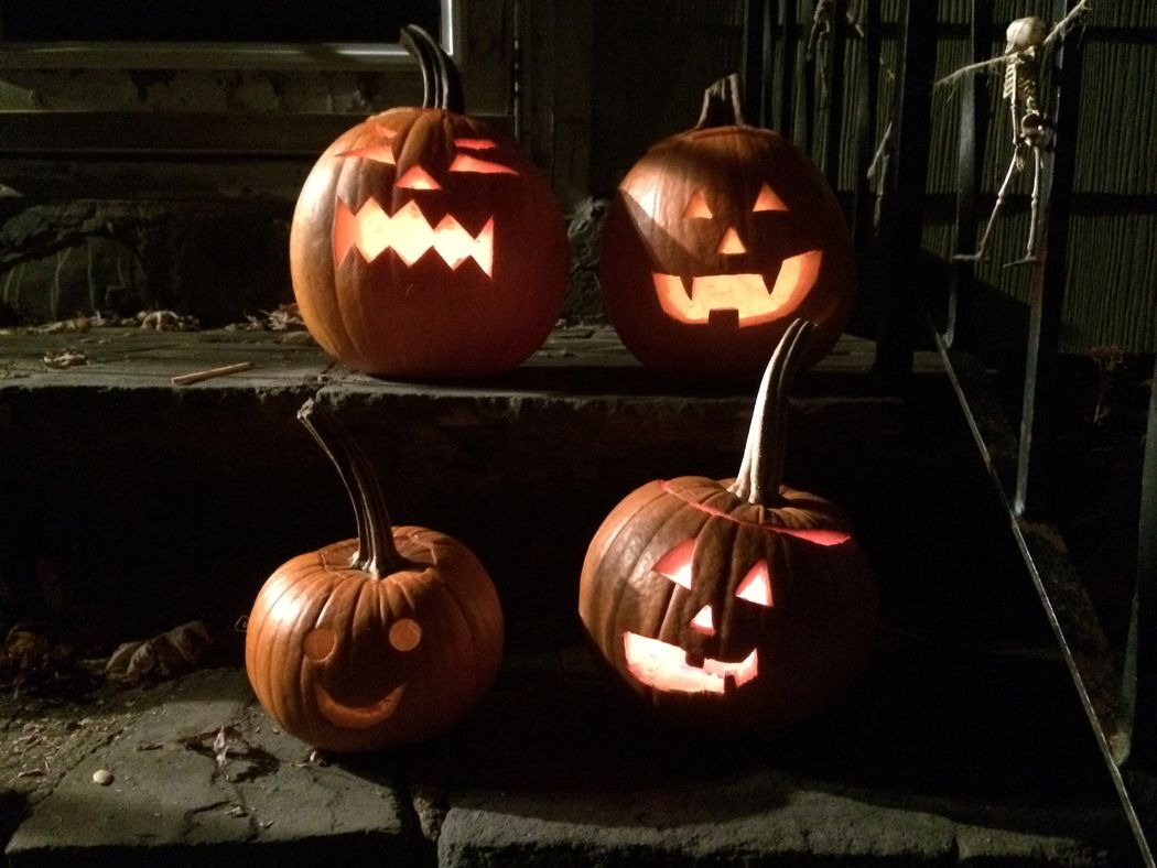 All Hallows Eve Brown Close-up Halloween Jack O Lantern Jack O' Lantern Lit Pumpkin Pumpkin Carving Pumpkins Scary Scary Faces Wood - Material