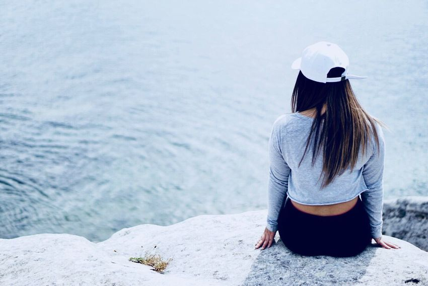 Long Hair Rear View Water Sea Nature Outdoors Sitting Beauty In Nature