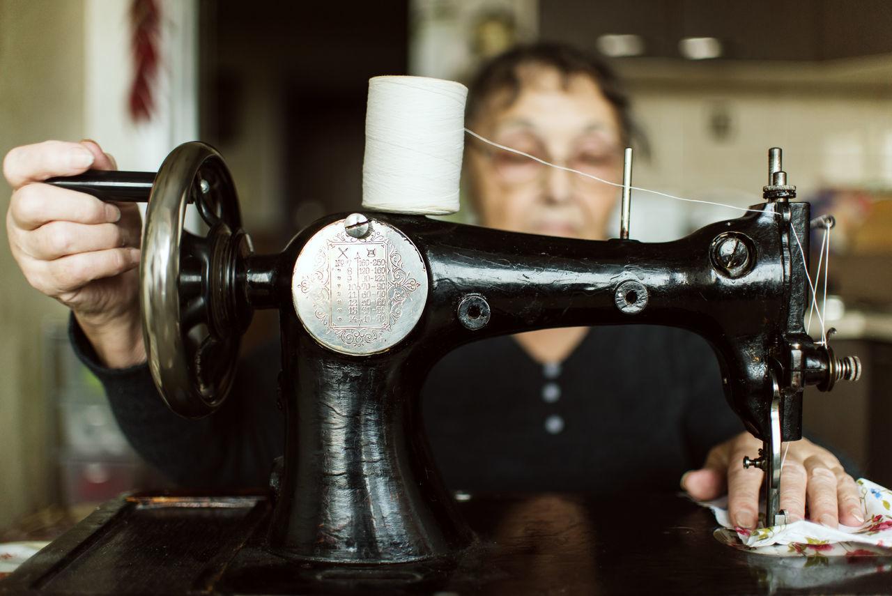 Elderly Woman Handmade Handmade For You Hobby Needlework Seamstress Sewing Sewing Machine Workshop