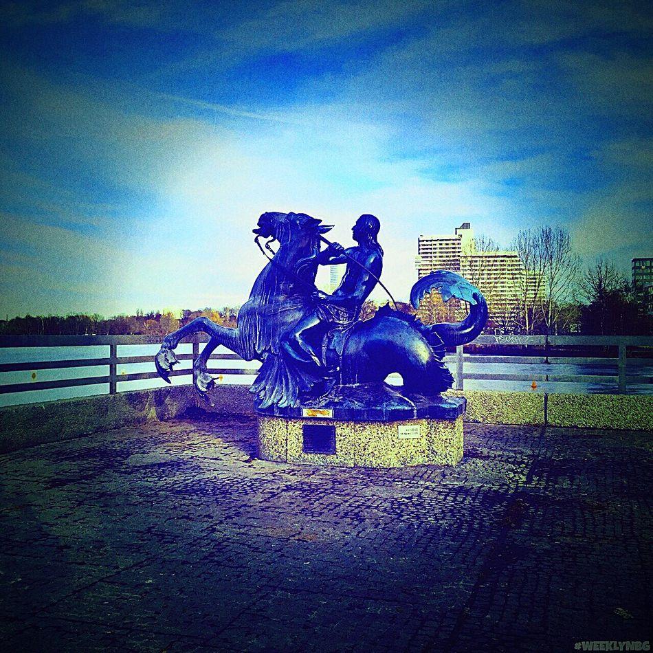 Neptune rising Statue Bronze Statue Deity Sea God Horse River Port Nuremberg Germany Highly Edited