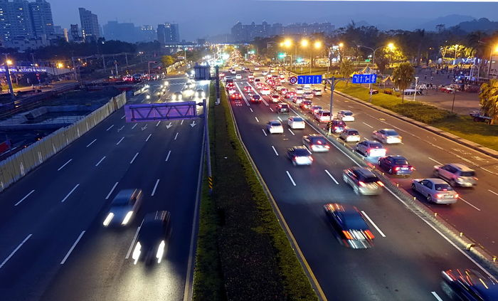 Dense traffic at evening rush hour on a main street in Kaohsiung, Taiwan Blurred Motion Cityscape High Angle View Illuminated Land Vehicle Light Trail Long Exposure Mode Of Transport Night Road Rush Hour Traffic Thoroughfare Traffic