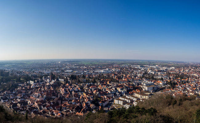 12-40 Germany Olympus Om-d E-m10 Outdoors Panorama Stadt Top Perspective Town Weinheim