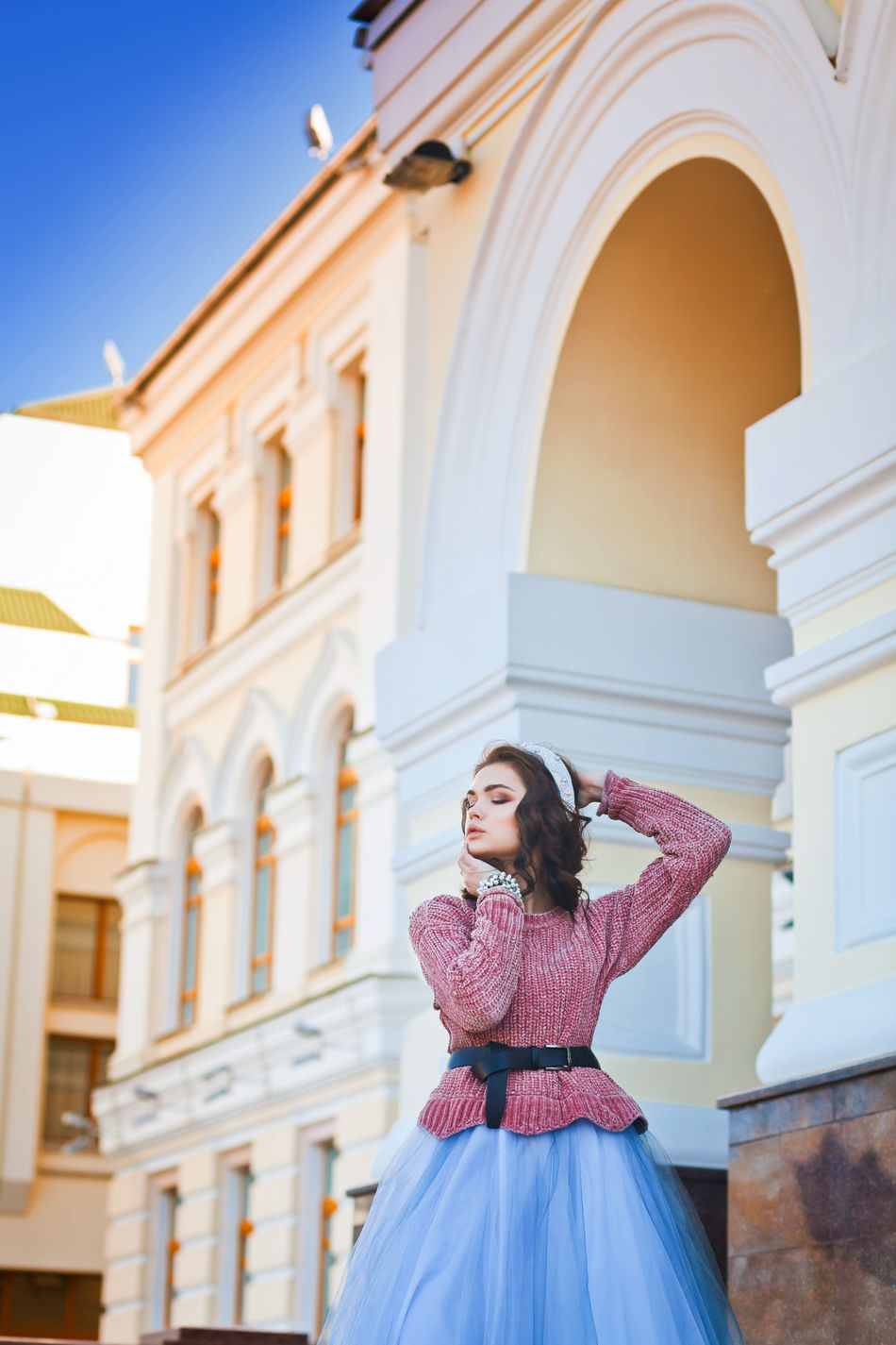 Arch Architecture Beauty Blue Building Exterior Built Structure City Editorial Photography Enjoying Life Enjoying The Sun Millennial Pink Outdoor Photography Sky Sunny Sunny Day Travel Destinations Vacations Warm