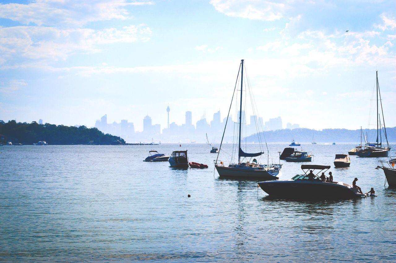 Outdoors Nautical Vessel Boat Water Sea Mast Day Harbor Scenics Sydney Cityscape Blue Sky Blue Sky Waterfront Australia Cloud - Sky Sailing Travel EyeEmBestPics EyeEm Best Edits Faded Contrast EyeEm Best Shots EyeEm Gallery