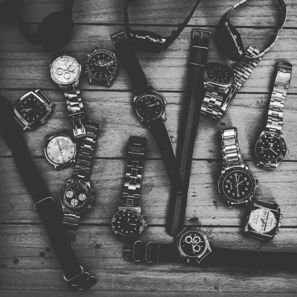 Timer Clock Face Blackandwhite Monochrome Leather Vintage Classic Alpha Retro Styled Fujifilm X-Pro1 Xf22mmf2 Fujifilm_xseries Collecting Watches Bracelet Metal Large Group Of Objects