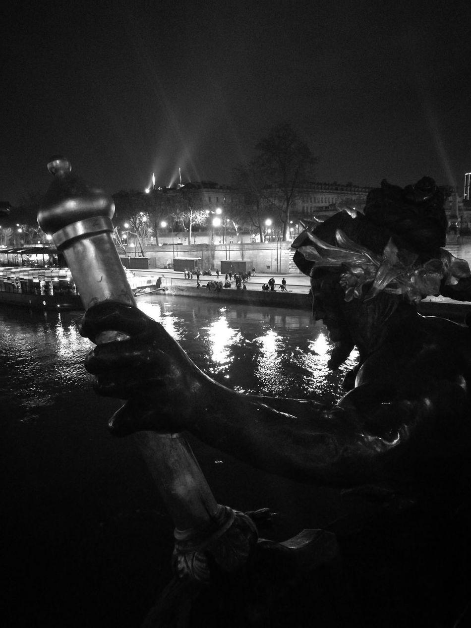 Night creatures on Paris bridges Night Water Paris, France  Paris Architecture City Tourism Seine Bridge Monuments & Statues Monuments Of The World Monuments statue