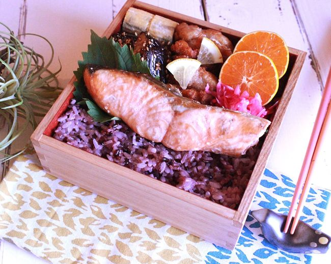 Japanese  Bento Lunch Box Salmon Grill Fried Chicken Kendo Practice 息子弁当