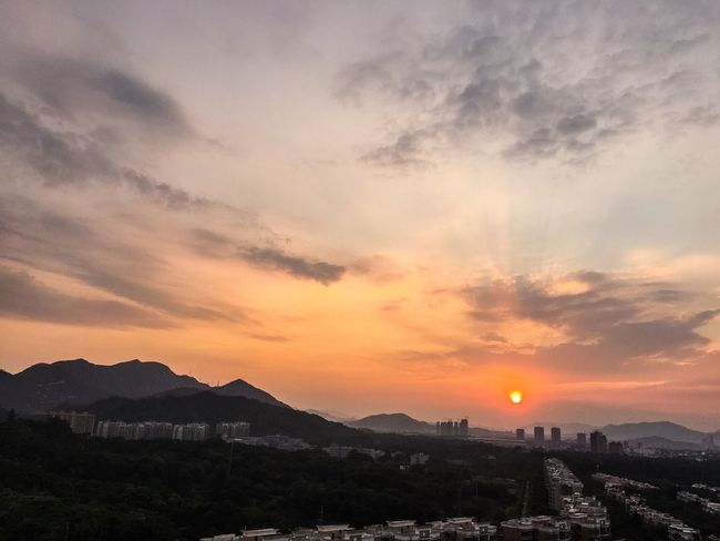 Sunset Mountain Scenics Sky Orange Color Cloud Sun Tranquil Scene City Town Cityscape Beauty In Nature Tranquility Cloud - Sky Nature Residential District Outdoors Romantic Sky Dramatic Sky Mountain Range Zhuhai China