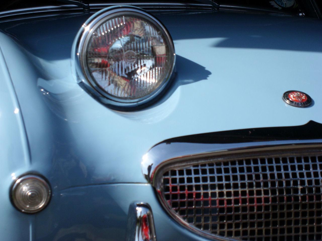 Austin Healey Blue Car Blue Sports Car Bonnet Chrome Chrome Grill Frog Eyed Frogeyed Sprite Headlight Radiator Grill Sky Blue Sprite Vintage Car Vintage Sports Car 1960's Blue Wave