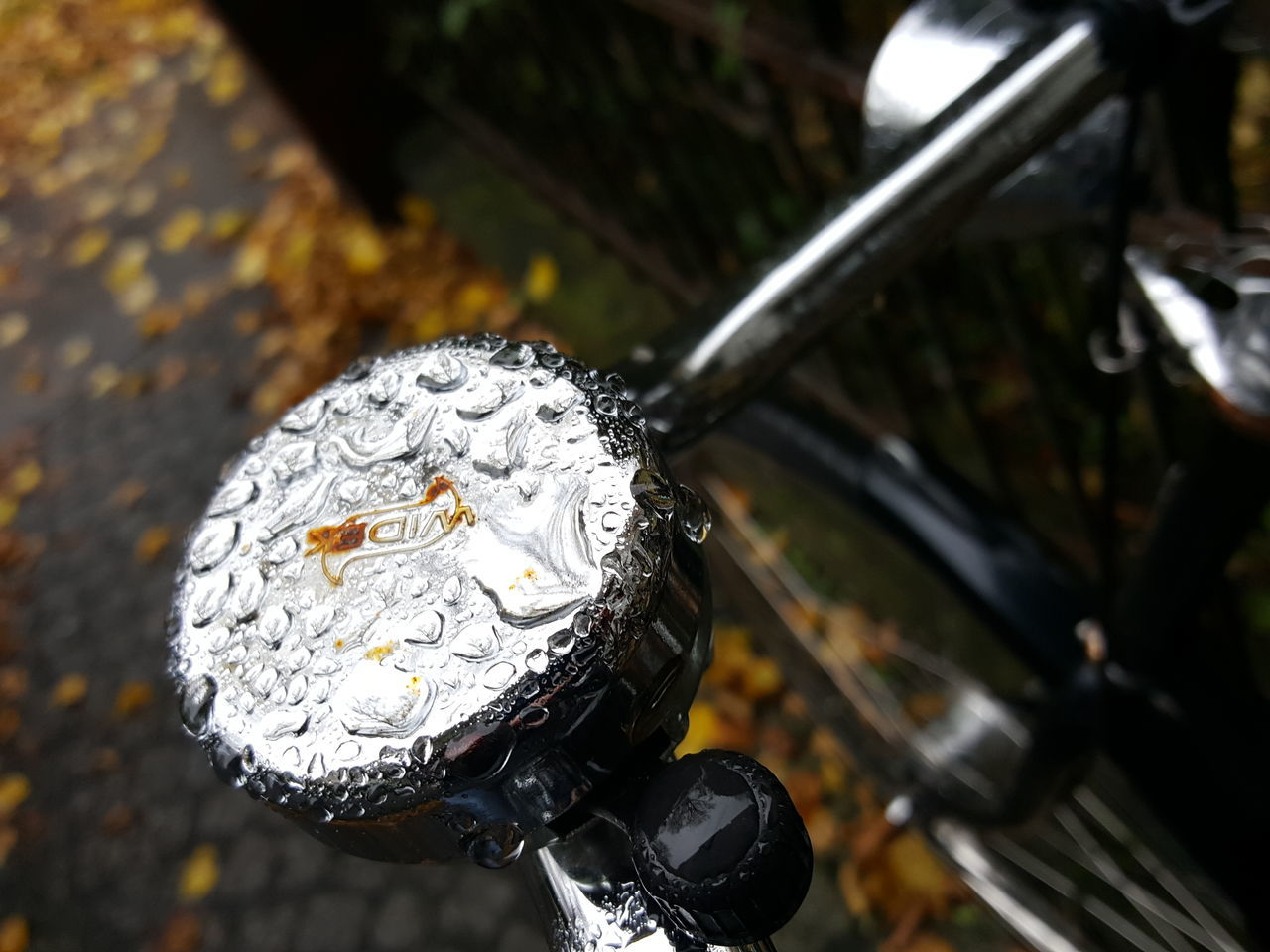 Close-up Focus On Foreground Water No People Outdoors November November Weather Rain Rainy Day Raining Rain Drops Rainy Weather Rainy Season Bike Bike Bell Autumn