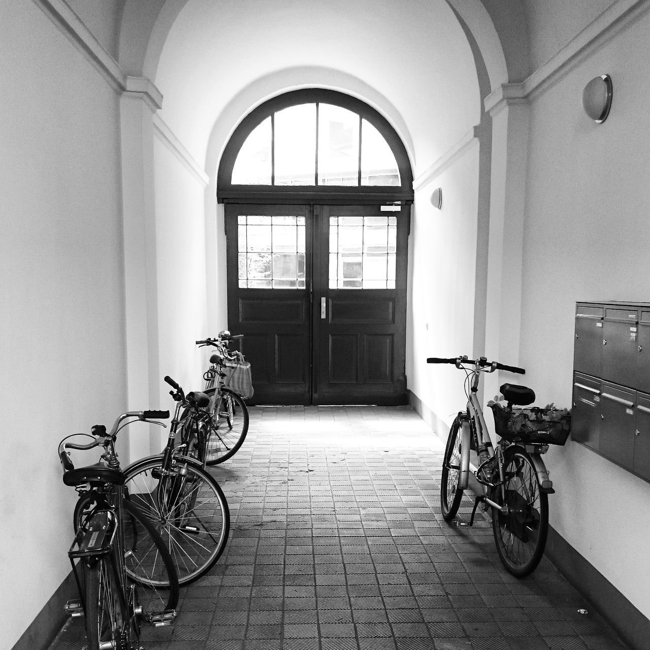 bicycle, transportation, mode of transport, window, land vehicle, built structure, day, stationary, architecture, indoors, no people, bicycle rack