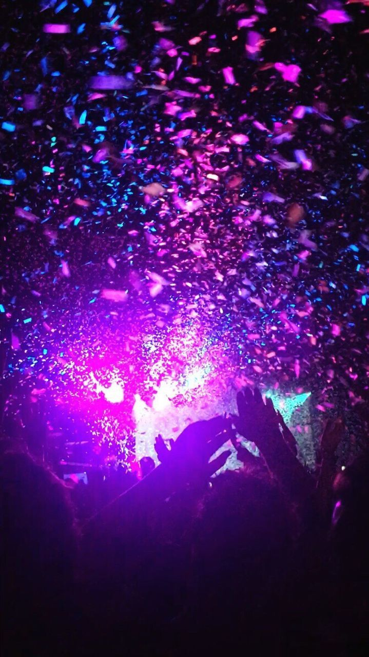 night, arts culture and entertainment, nightlife, music, celebration, illuminated, enjoyment, large group of people, nightclub, fun, human body part, silhouette, popular music concert, excitement, performance, indoors, confetti, togetherness, crowd, fan - enthusiast, people, adult