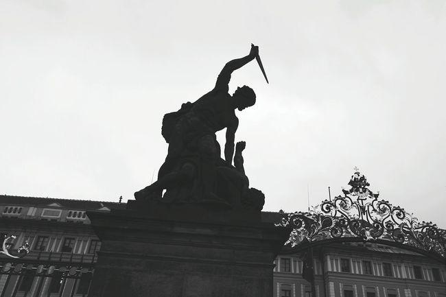 Statue Mythology Sculpture Stab Bw