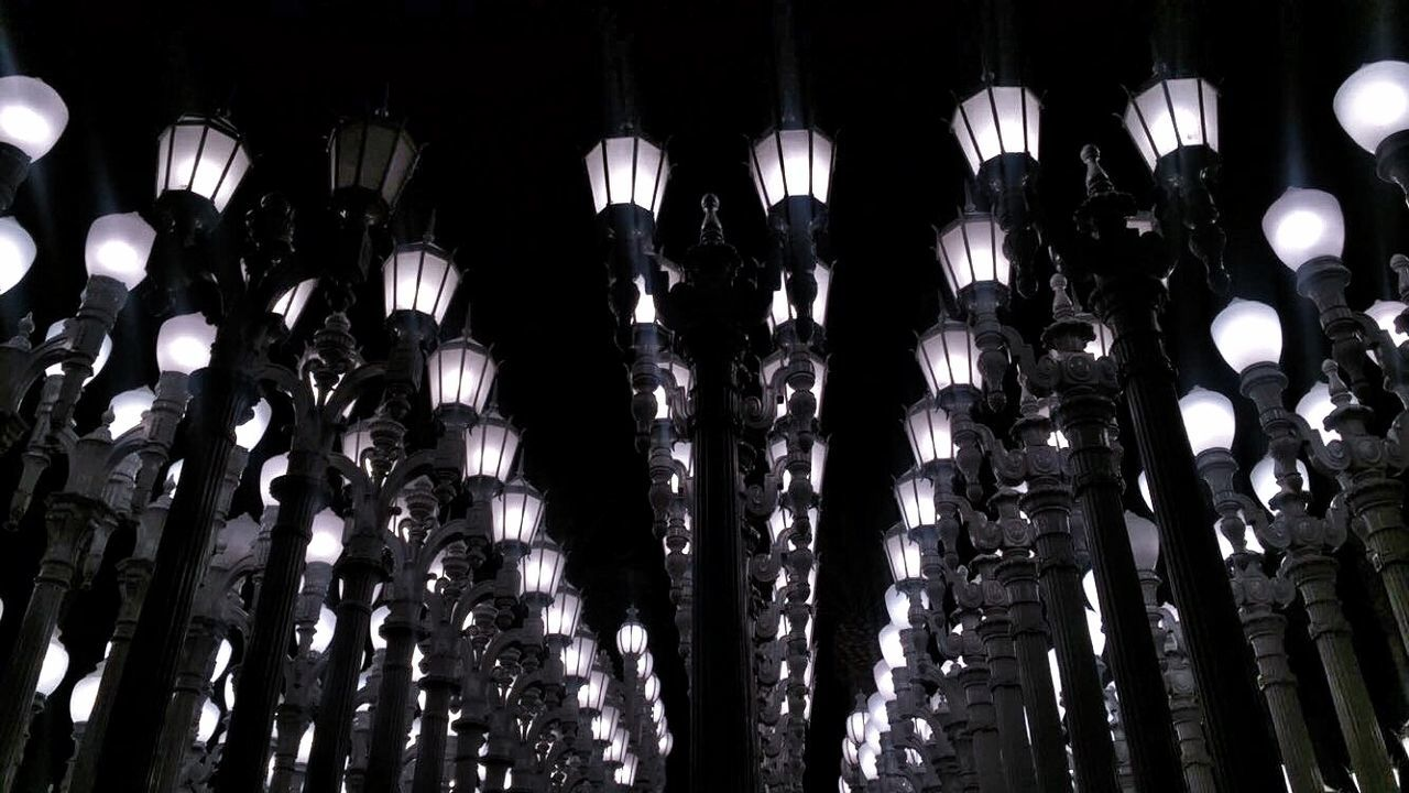 lighting equipment, no people, large group of objects, hanging, backgrounds, illuminated, black background, close-up, indoors, day