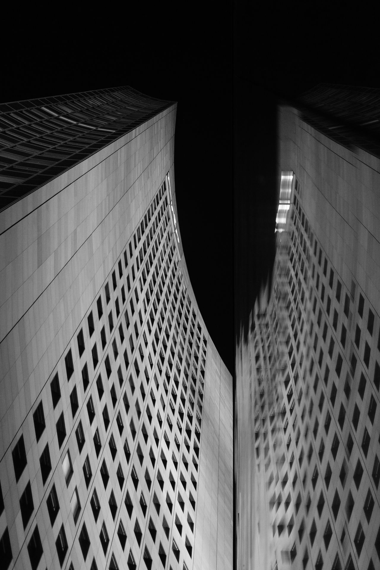 Abstract Architecture Black & White Blackandwhite Building Building Exterior Built Structure Close-up Day Germany Leipzig Night No People Pattern Reflection Skyscraper Uniriese Window