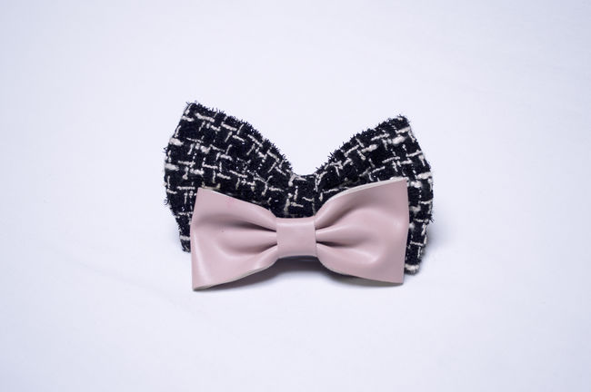 Art Black Color Bow Tie Bow Tie! Close-up Creativity Cut Out Design Fashion No People Still Life Studio Shot Two Objects White White Background