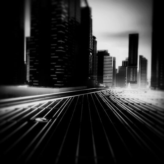 Architecture Built Structure Tall - High Office Building Skyscraper Financial District  Singapore Marina Blackandwhite