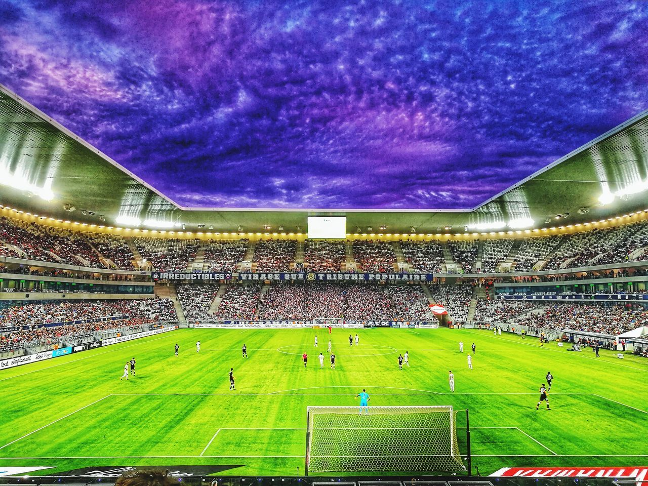 stadium, soccer, grass, sports team, blue, green color, spectator, event, team sport, soccer field, playing field, fan - enthusiast, outdoors, audience, day, people