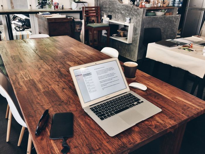 Saturday hustle and coffee ☕️. Table Concentration Memories Food And Drink Office Studio Interior Interior Design Composition Remote Digital Nomad Laptop Macbook Air Nomadiclife Mobile Office Workspace