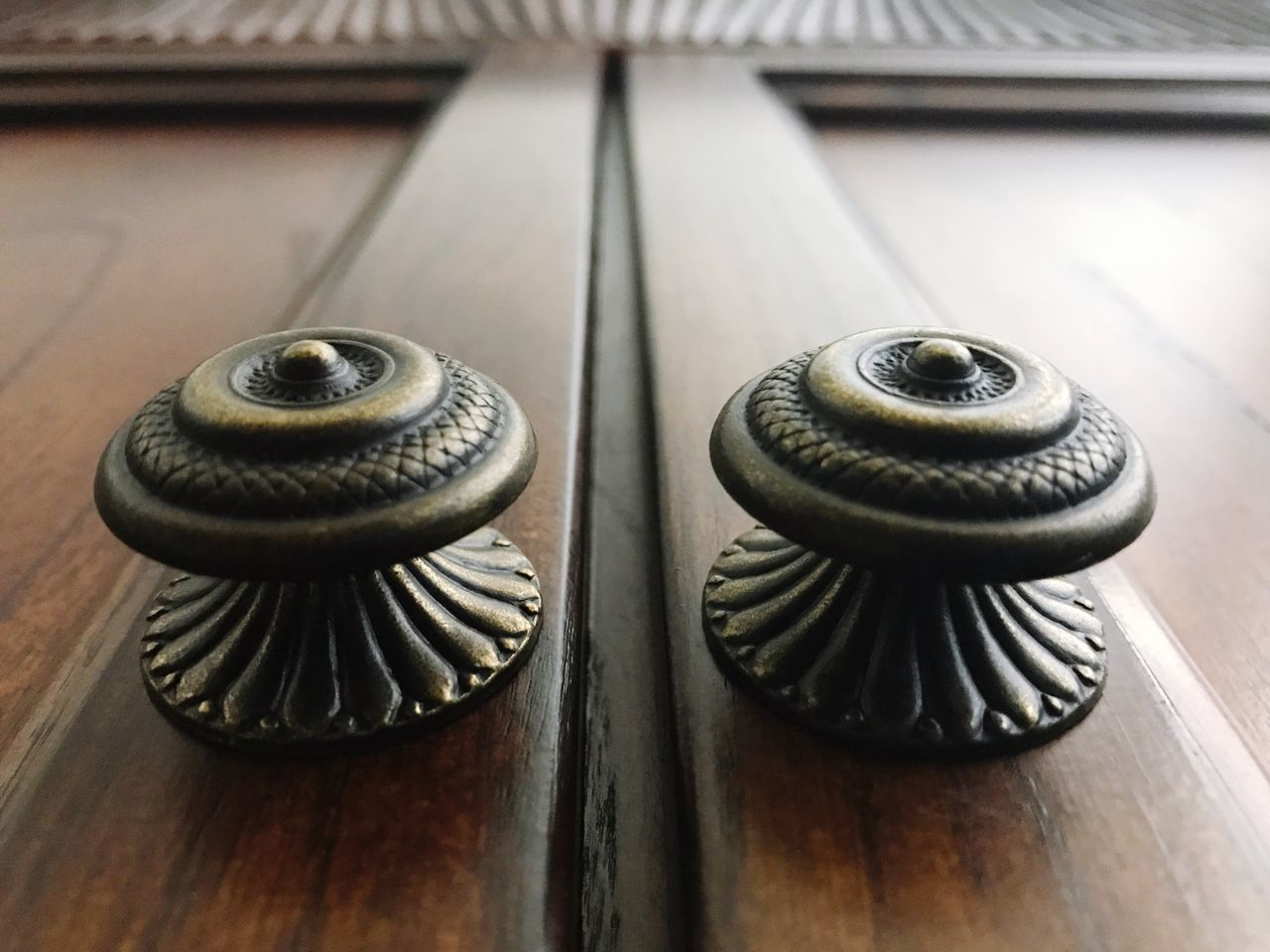 Close-up Metal Focus On Foreground No People Indoors  Table Bolt Nut - Fastener Day Knobs Details Bronze Wood - Material Brown Two Is Better Than One Two Of A Kind Two Lines Right In The Middle Perspective Circle Round Design Symmetry Symmetrical