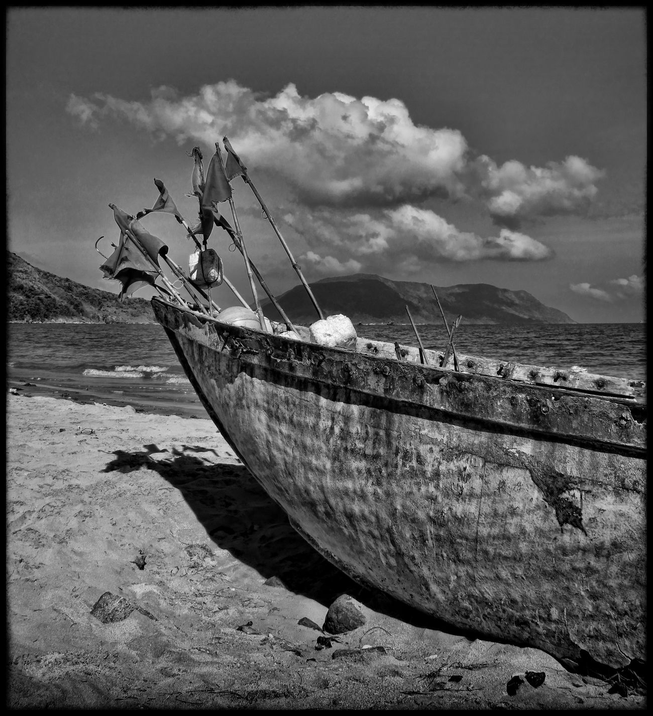 Beach Beachphotography Beauty In Nature Black And White Collection  Blackandwhite Blackandwhite Photography Cloud - Sky Fishing Boat Flags In The Wind  Island Mode Of Transport Moored Nature Nautical Vessel Sand Sea Tranquil Scene Tropical Climate