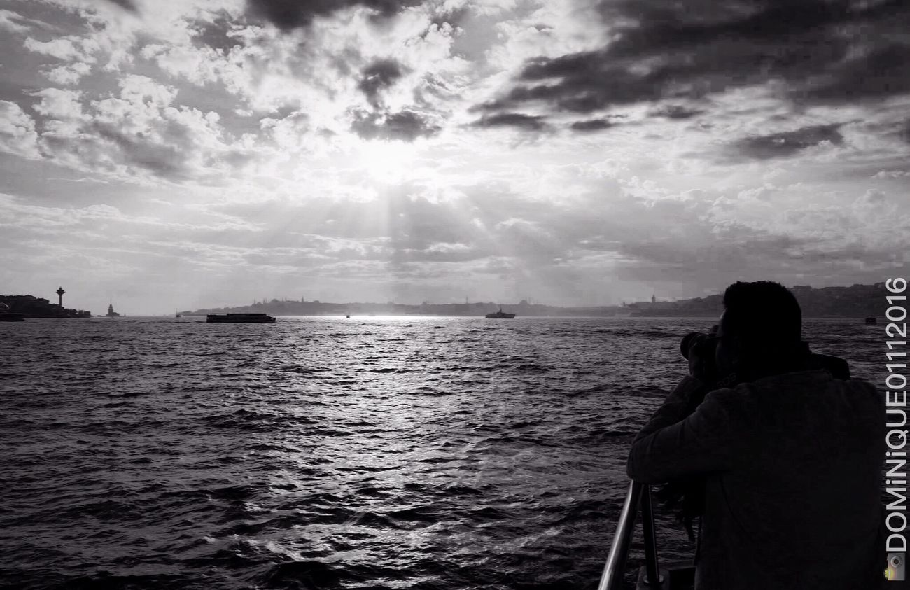 """Capture..."" My Partnerinlife trying to Capturethesunset on His Bestangle while am taking the Candidshot and he was unaware of that... Blackandwhite Bosphorus Celebrating our 8thyear in Istanbul Turkey Eyecatcher IPhoneography"