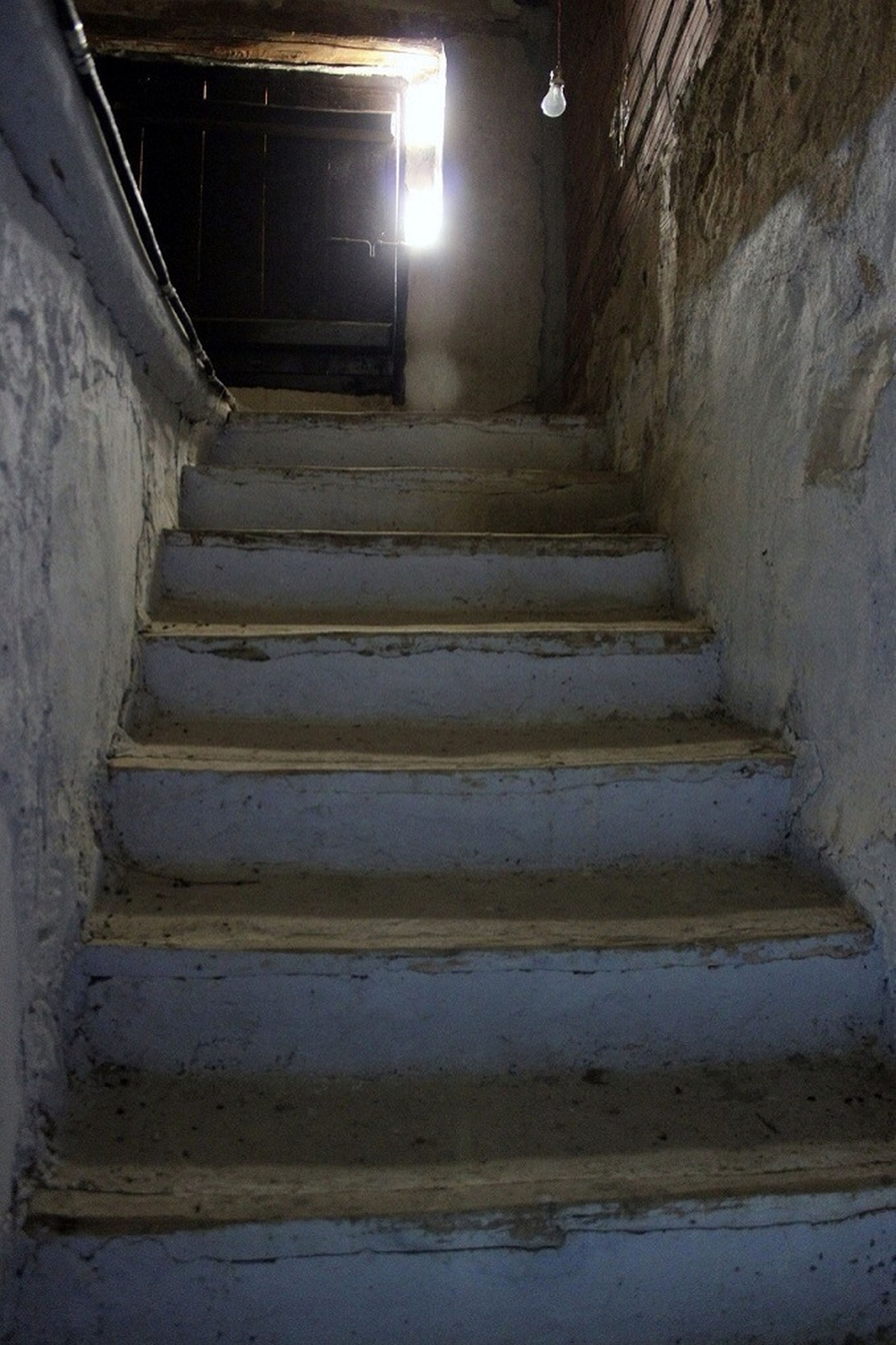 architecture, built structure, steps, indoors, the way forward, steps and staircases, staircase, wall - building feature, illuminated, old, building, abandoned, building exterior, diminishing perspective, narrow, wall, weathered, no people, railing, night