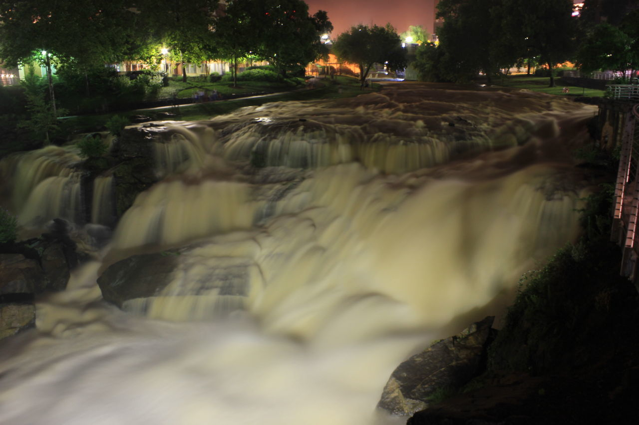 water, tree, motion, outdoors, night, no people, long exposure, nature, illuminated, waterfall, city, beauty in nature