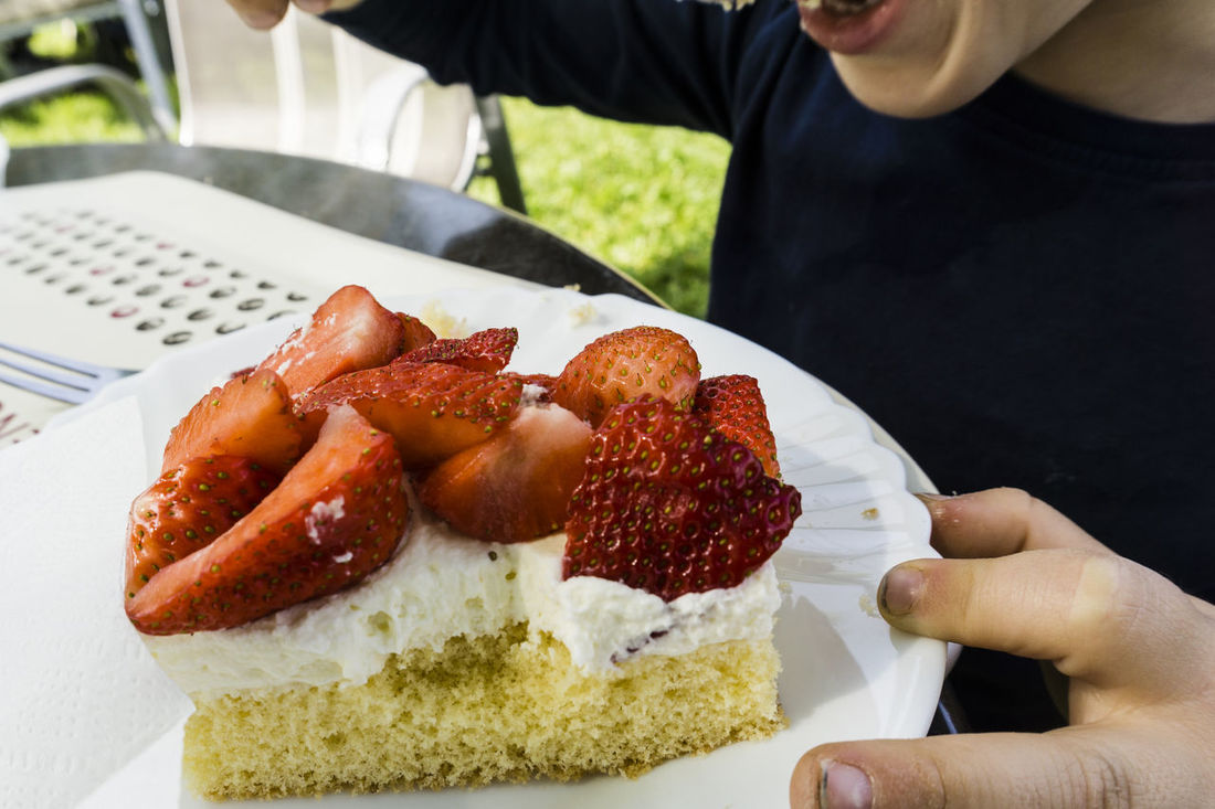 EAT, DRINK & MORE Boy Cake Close-up Day Dirty Mirror Fingernails Food Food And Drink Freshness Human Body Part Human Hand Indoors  Kid Midsection One Person Plate Ready-to-eat Strawberry Cake Sweet Pie Temptation Unhealthy Eating