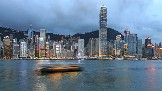 Hong Kong Island from Kowloon at dusk ASIA China Dusk In The City Hong Kong Mrt MTR Hong Kong Night Victoria Harbour Victoria Peak, Hongkong