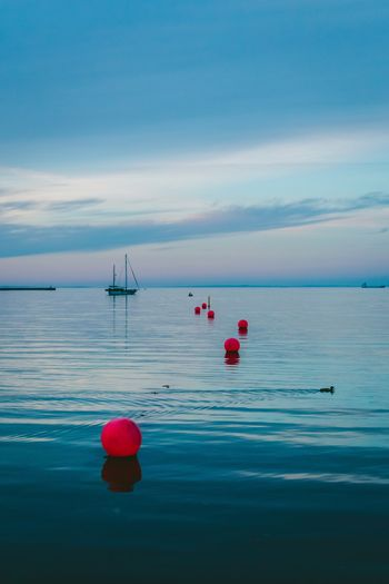 Follow the dots Water Sea Transportation Scenics Horizon Over Water Beauty In Nature Sky Outdoors No People Day Red