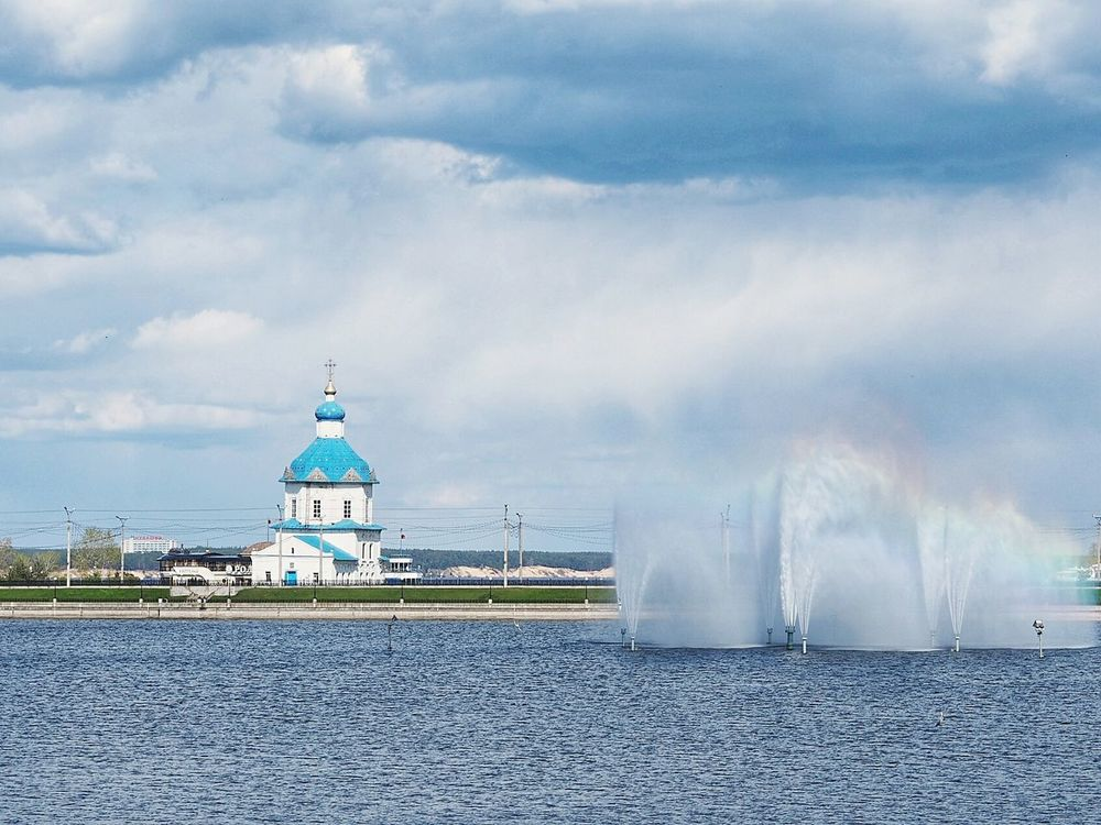 Water Built Structure No People Architecture Building Exterior Outdoors Sky Day City Cityscape Landscape Cheboksary Volga River Cheboksarycity Up In The Sky Church Church Tower Russia Russian Orthodox Church