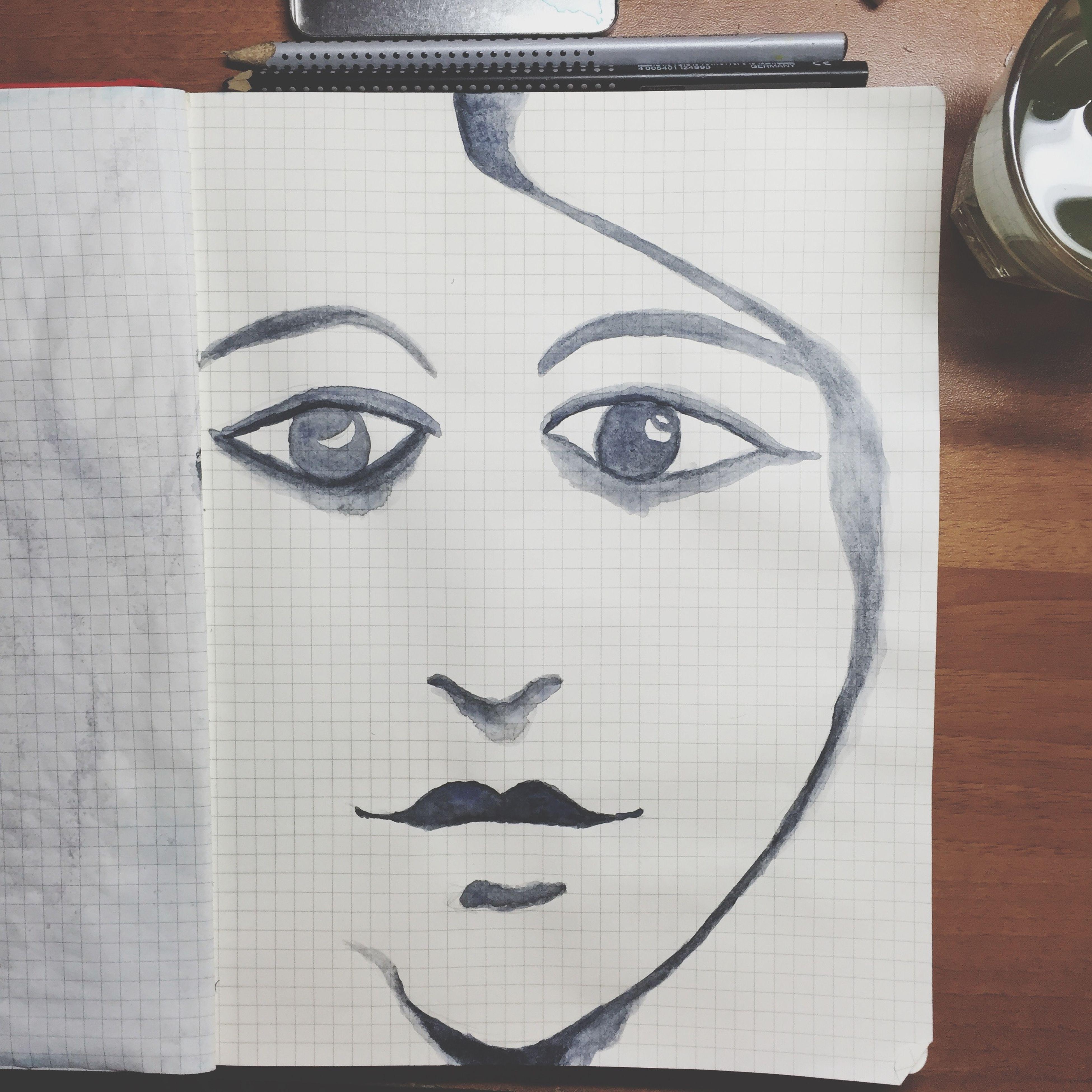 Errante fuori dalle orbite Watercolor Freak Show Portrait Wrong