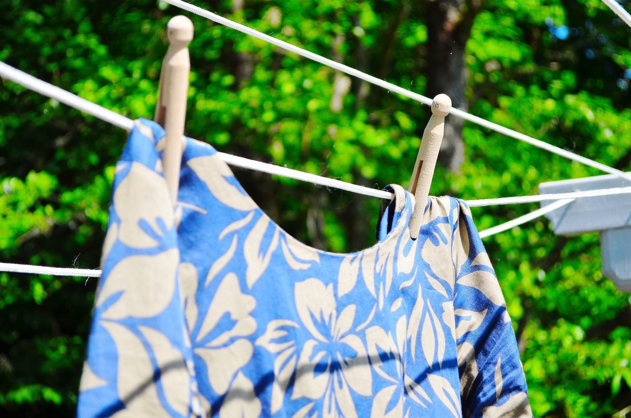 Laundry Drying Clothes Nature Garden June 2016 Dress Flower Clothespin Antique Clothes Pegs Sundried Summertime Bright Colors