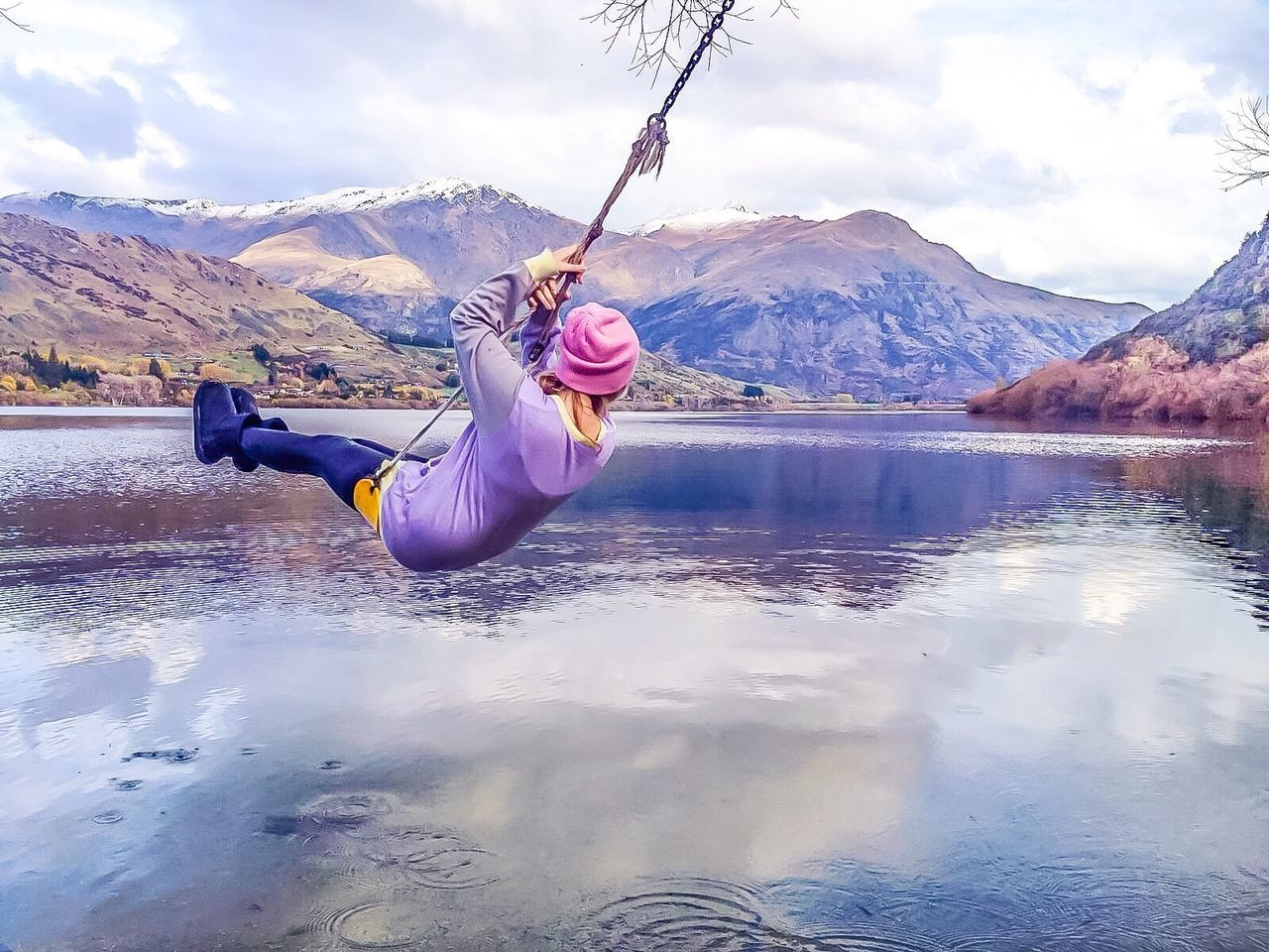 real people, water, one person, mountain, sky, nature, beauty in nature, outdoors, lifestyles, cloud - sky, day, scenics, lake, young adult