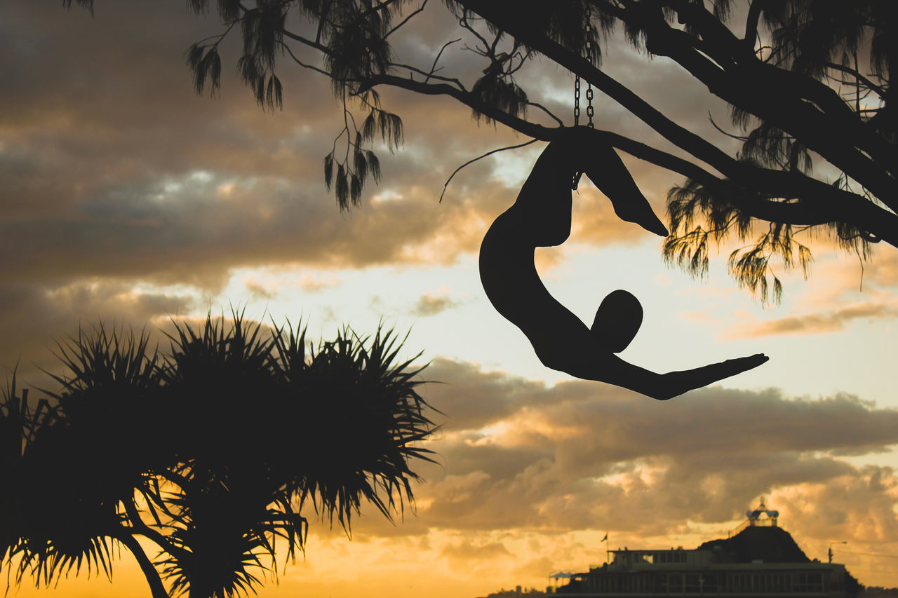 Cloud - Sky Day Extreme Sports Flexibility Full Length Leisure Activity Mid-air Nature One Woman Only Outdoors Silhouette Sunset Tree My Year My View