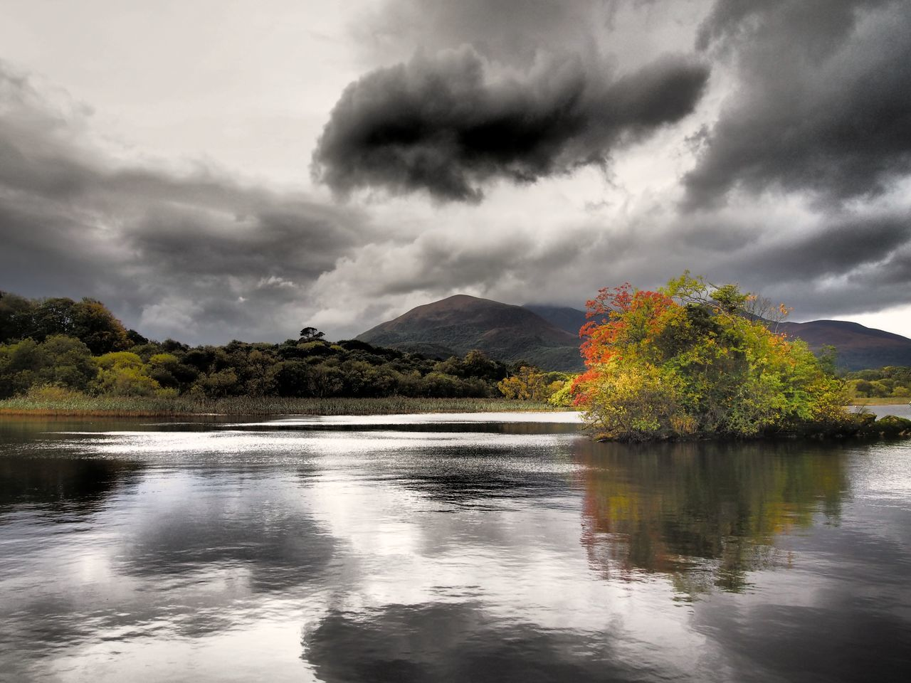 Lough Leane @ Ross Castle Killarney  Ireland Reflection Lake Lake View Lough Leane Lough EyeEm Nature Lover Tranquility Autumn Colours Autumn Sky Travel Destinations OutdoorsBeauty In Nature Dramatic Sky Scenics Lake Landscapes Landscape