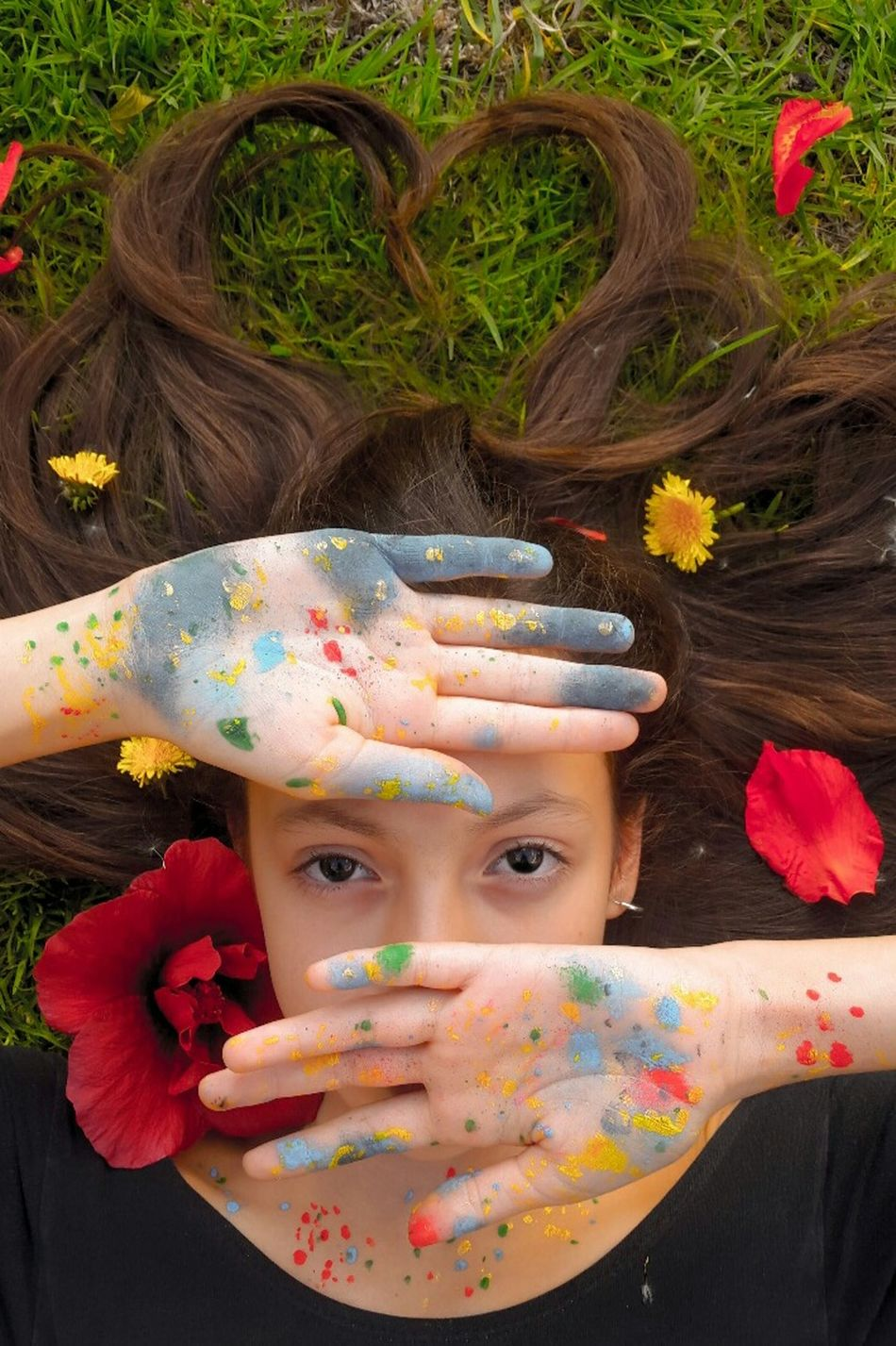 Human Body Part High Angle View Tumblrgirl Only Women Multi Colored Beauty Flower People Nature One Person One Woman Only Outdoors Tumblr Human Hand One Young Woman Only Close-up Young Adult Freshness Day Painting Nature Love Lovely Photo Photography