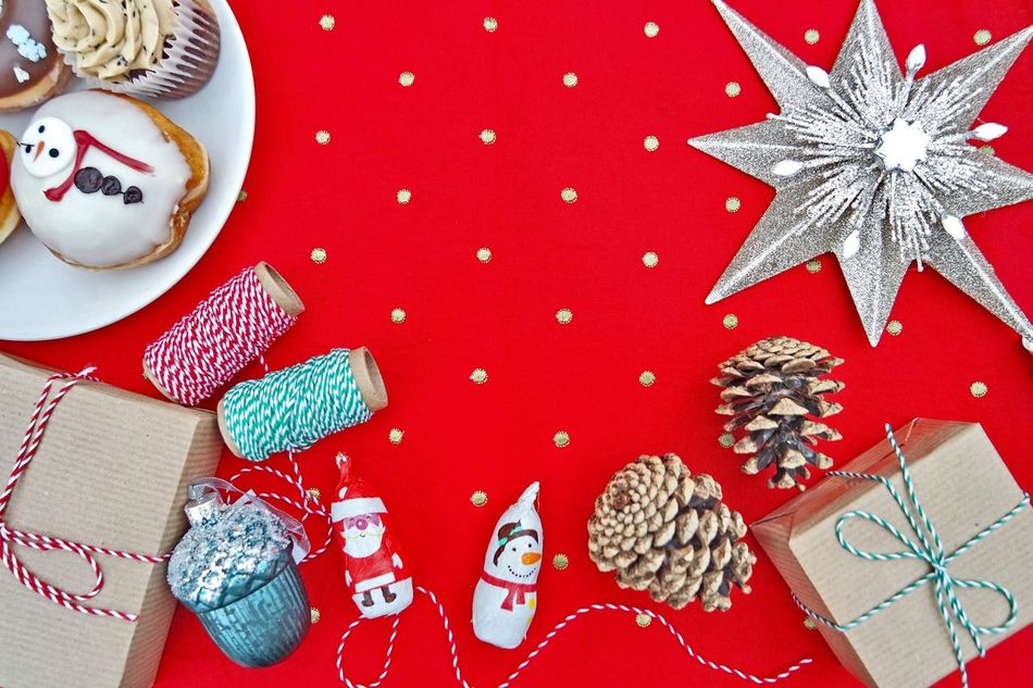Christmas Christmas Celebration Sweet Food High Angle View Close-up Food Still Life Red Celebration Handmade For You